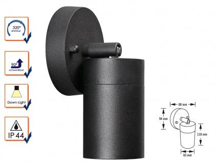 Aluminium Wandspot MODENA schwarz schwenkbar GU10 H. 10, 5 cm IP44 Außenleuchte