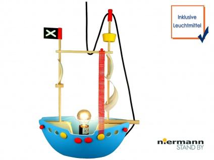 LED Hängeleuchte Kinderzimmerlampe PIRATENSCHIFF Holzschiff Kinderlicht Jungen