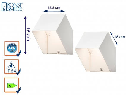 2er Set LED Außenwandleuchte Alu weiß IP54 3W UP/Down Fassadenbeleuchtung