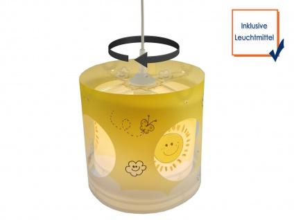 Kinder LED Pendelleuchte drehend Motiv Sonne dimmbar Kinderzimmer Lampe Decke