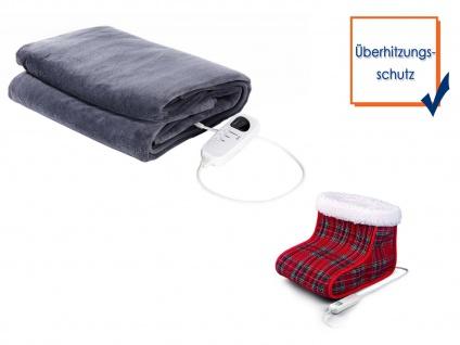 Wellness-Set: Elektrische Fleeceheizdecke mit Timer + Elektro Fußwärmer waschbar