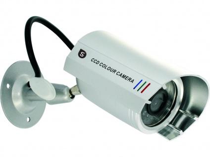 Überwachungskamera Attrappe Metalloptik Täuschend Echt wettergeschützt