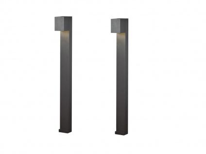 2er SET LED Wegeleuchte aus ALU in anthrazit für außen H100cm Lichtstrahl 0°-90° - Vorschau 2