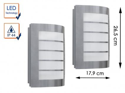 2 Edelstahl LED Außenwandleuchten IP44 H.26, 5cm Fassadenbeleuchtung Wegeleuchte