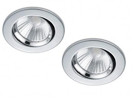 2 LED Einbaustrahler Decke rund Ø 8, 5cm schwenkbar dimmbar Chrom glänzend 5, 5W