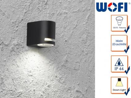 LED Außenwandleuchte Aluminium schwarz H. 8cm Fassadenbeleuchtung Wandleuchten