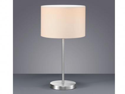 Design LED Tischlampen mit rundem Stoffschirm Weiß Ø30cm - fürs Wohnzimmerlampen - Vorschau 1