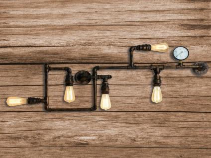 3 flammige LED Wandleuchte Deckenlampe im Industrielook mit Wasserrohr Rostoptik