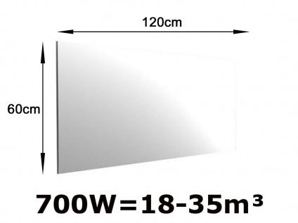700W Infrarot Spiegelheizung fürs Bad, 120x60cm, für Räume 18-35m³