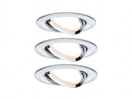 Flache LED Einbaustrahler Decke 3er Set rund schwenkbar 68mm Chrom glänzend 6, 5W