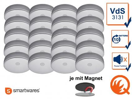20er SET Rauchmelder 10 Jahres Batterie, VdS & Q-Siegel mit EASY Magnethalterung