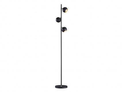 Designer Standlampe LED 155cm hoch, mit 3 Spots dreh+schwenkbar in schwarz matt - Vorschau 1