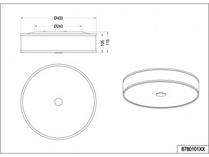 LED Deckenleuchte Ø40cm mit weißem Stoffschirm, Nickel matt mit SWITCH DIMMER - Vorschau 5