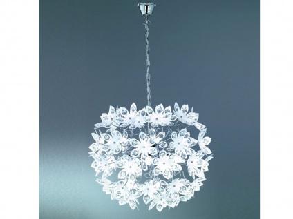 Elegante Pendelleuchte, Krone mit Kristall Blüten & Steinen aus Acryl Ø50cm E14