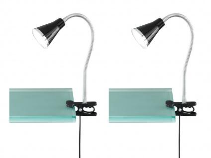 2er SET LED Klemmlampen flexibel Schwanenhalsleuchten schwarz Schreibtischlampen