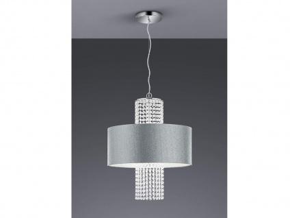 Einflammige Pendelleuchte mit rundem Textilschirm Ø45cm Silber, Acryl Kristallen
