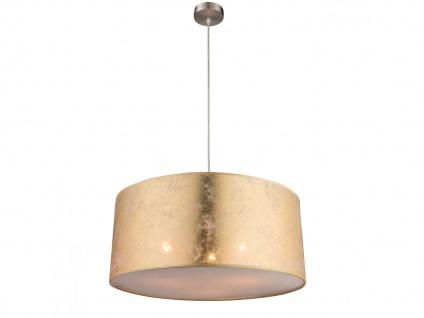 Hängelampe AMY 53cm mit dimmbare LED, Textilschirm gold, Pendelleuchte Esstisch