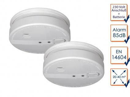 Vernetzbares Rauchmelderset mit 230V Anschluss + Reservebatterie - Alarmmelder