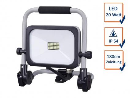 Klappbarer LED Baustrahler Bright Fluter 20Watt 180cm Zuleitung anthrazit-silber
