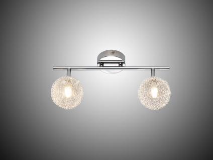 LED Deckenleuchte Strahler 2 flammig Alu Drahtgeflecht Silber Chrom Breite 36cm