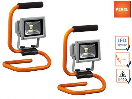 2er Set 10W LED Baustrahler tragbar, Sicherheitsglas, Fluter Arbeitsscheinwerfer