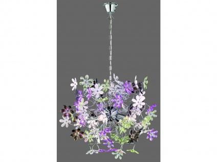 Florale LED Hängelampe Chrom Acrylglas Ø63cm mit bunten Blüten, Wohnzimmerlampe