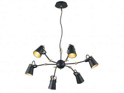 LED Hängeleuchte dimmbar, Metall in schwarz, 6 verstellbare Spots, Esstischlampe - Vorschau 2