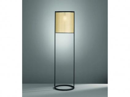 Coole Vintage Stehleuchte Metall Schwarz mit Lampenschirm Beige in Rattan Optik