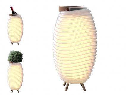Vielseitige LED Stehlampe mit Bluetooth Lautsprecher & Sektkühler, Licht & Musik