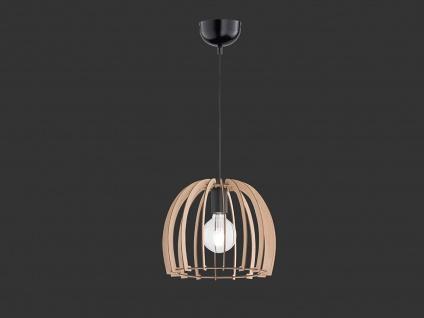 LED Naturholz Hängeleuchte LED 1 flammig Schirm holzfarbig rund Ø 30cm Höhe 25cm