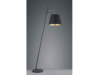 Ausgefallene LED Stehlampe mit STOFF Schirm höhenverstellbar in schwarz/gold E27 - Vorschau 1