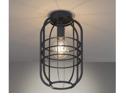 Vintage Deckenleuchte - Gitterlampe Industrielook mit Lampenschirm schwarz matt