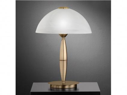 Klassische Tischleuchte Altmessing Glasschirm H. 36cm LED Nachttischlampe Diele - Vorschau 3