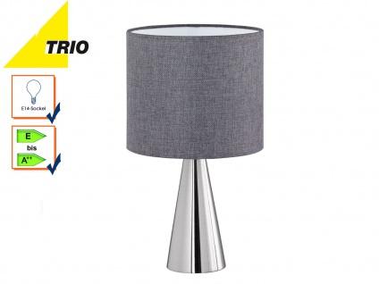 Trio Tischleuchte COSINUS Lampenschirm Textil grau Ø20cm, Tischlampe Wohnzimmer