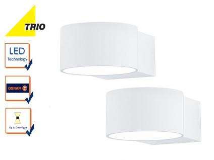 2er Set Trio Wandleuchten LACAPO weiß Uplight Downlight LED, Wandlampe Wohnraum