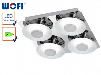 LED-Deckenlampe 4-flammig, modern, Chrom / weiß, Wofi-Leuchten