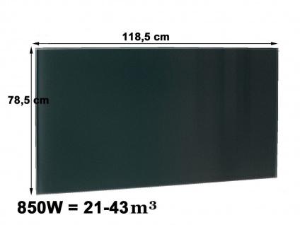 850W Glasheizpaneel, Infrarotheizung schwarz, Glaspaneel rahmenlos, Vitalheizung - Vorschau 1