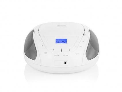 Tragbares Radio weiß mit CD-Spieler & FM Tuner, Aux-in für MP3 Player, Stereo - Vorschau 2