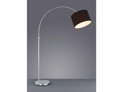 Design LED Bogenlampe Stoffschirm schwarz höhenverstellbar Stehlampe Wohnzimmer