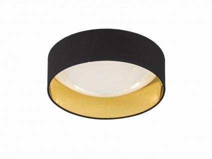 Dimmbare LED Sternenhimmel Deckenleuchte Ø40cm, Lampenschirm Stoff schwarz gold - Vorschau 2