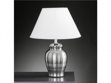 Tischleuchte, Chrom gewischt & weißer Stoffschirm, Honsel-Leuchten