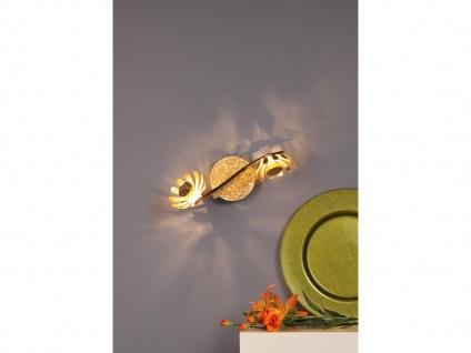 Zweiflammige florentiner Blumen Motiv LED Deckenleuchte aus Metall in Blattgold - Vorschau 4