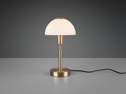 LED Tischleuchte Touch Dimmer, Messingfuß matt mit Opalglasschirm weiß Höhe 33cm