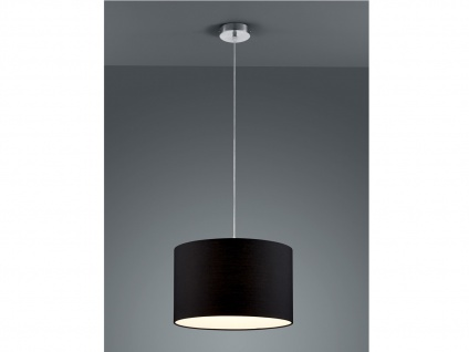 Runde LED Pendelleuchte mit Stoffschirm Schwarz - Hängeleuchten für den Esstisch