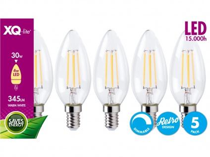 5er-Set E14 Filament LED Leuchtmittel Kerze, 4W, 345 Lumen, dimmbar XQ1562