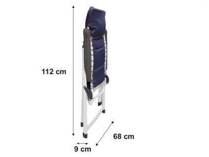 ALU Campingstuhl Hochlehner verstellbar & klappbar Klappliegestuhl + Sitzauflage - Vorschau 5