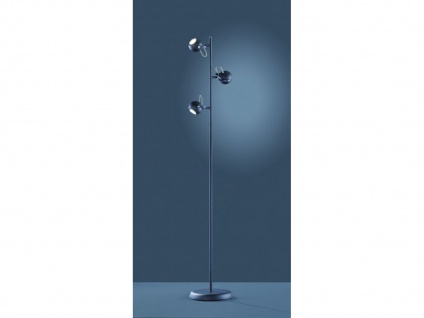 Coole 3 flammige LED Stehlampe zum Lesen flexible Spots schwarz matt Höhe 150cm