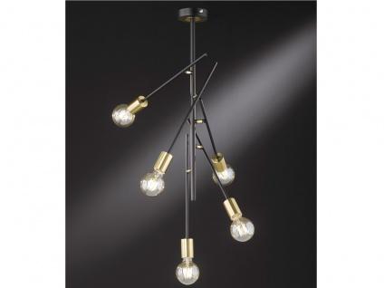 Retro Design LED Deckenleuchte 5 flammig schwenkbar Schwarz Gold fürs Esszimmer