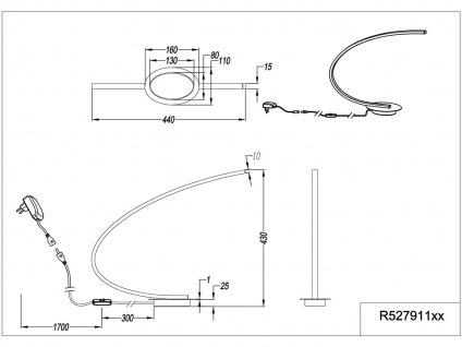 LED Tischleuchte gebogen SOLO Metall ALU gebürstet Höhe 43cm Ausladung 44cm - Vorschau 5