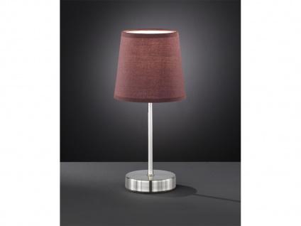 LED Nachttischleuchte Lampenschirm Stoff rund in Hellbraun Ø14cm für Wohnzimmer